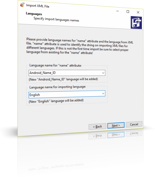 Configuring language names for importing Android SDK localization XML